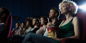 Crowd watching a movie --- Image by © Daniel Koebe/Corbis